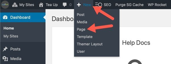 Create New WordPress Page Drop Down