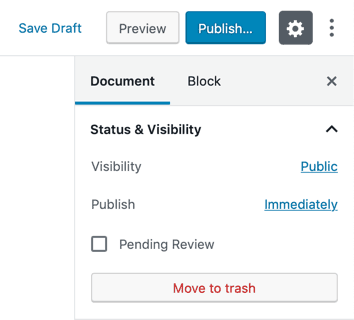 WordPress New Page Settings Publish Panel