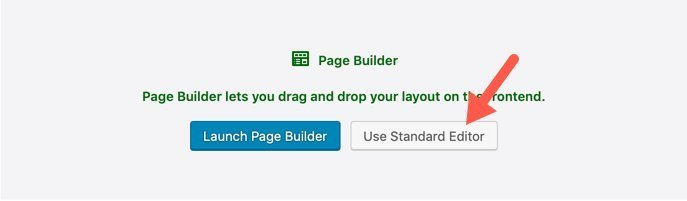 WordPress new Page Standard Editor Selection
