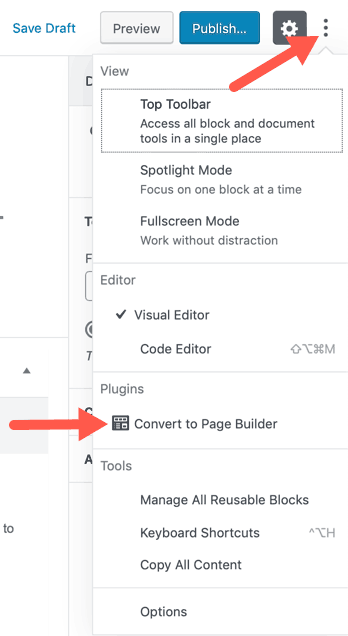 WordPress Standard Edititor Converting Page to Page Builder