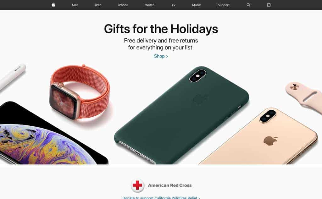Apple Website for the Holidays