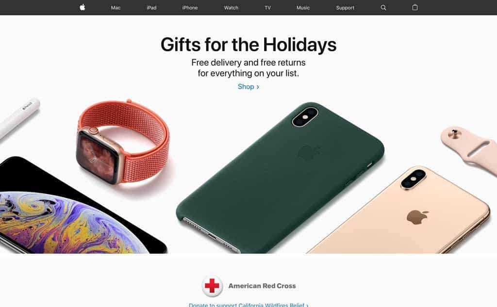 Apple Gifts for the Holidays Website Design
