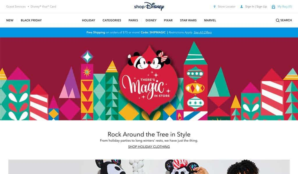 Disney Store Website Holiday Page