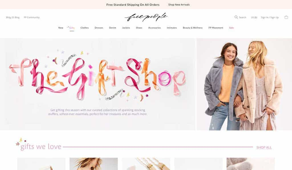Free People Website Holiday Gift Shop Page