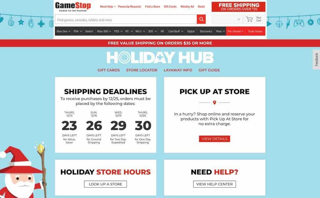 GameStop Holiday Hub Page
