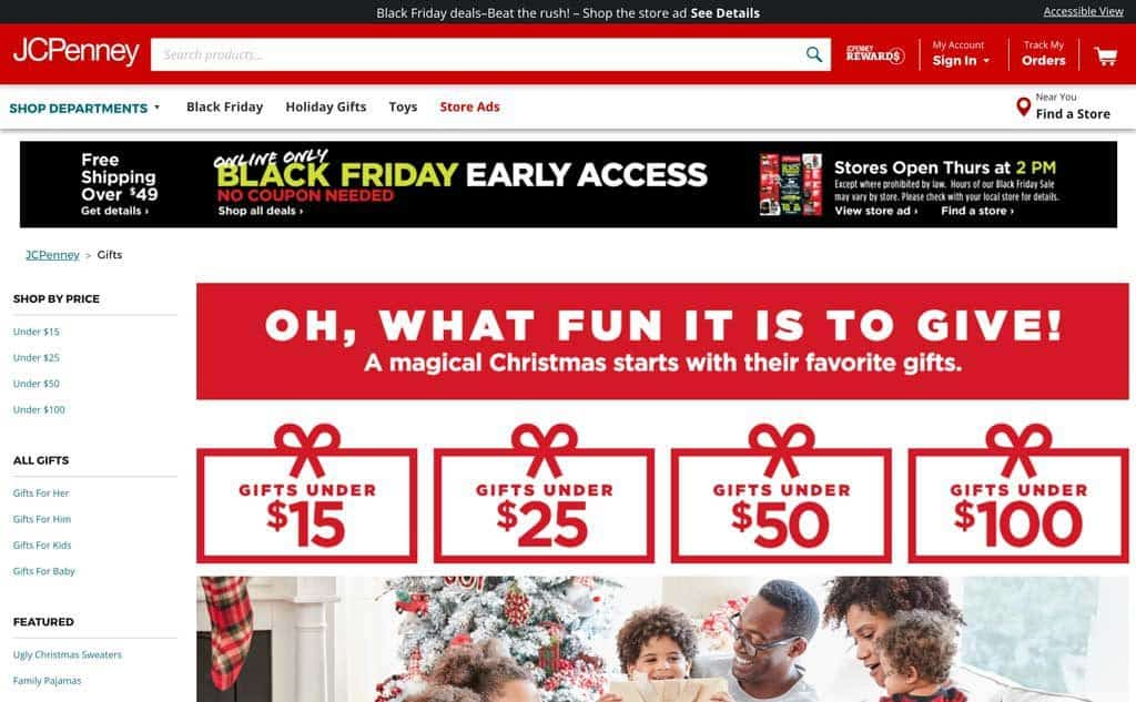 JC Penney Holiday Landing Page