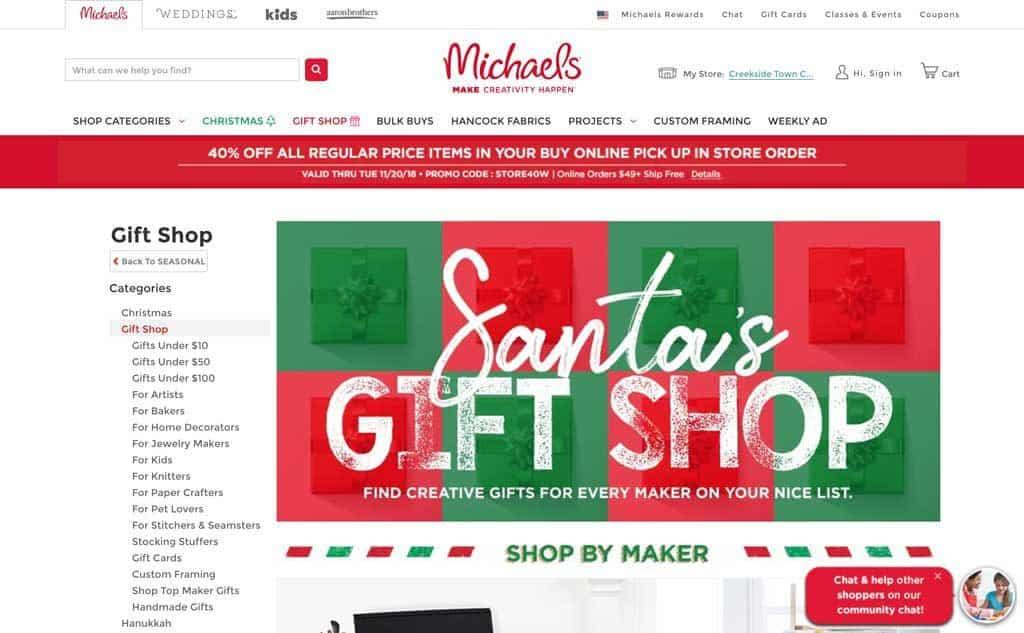 Michaels Gift Shop Websiteq