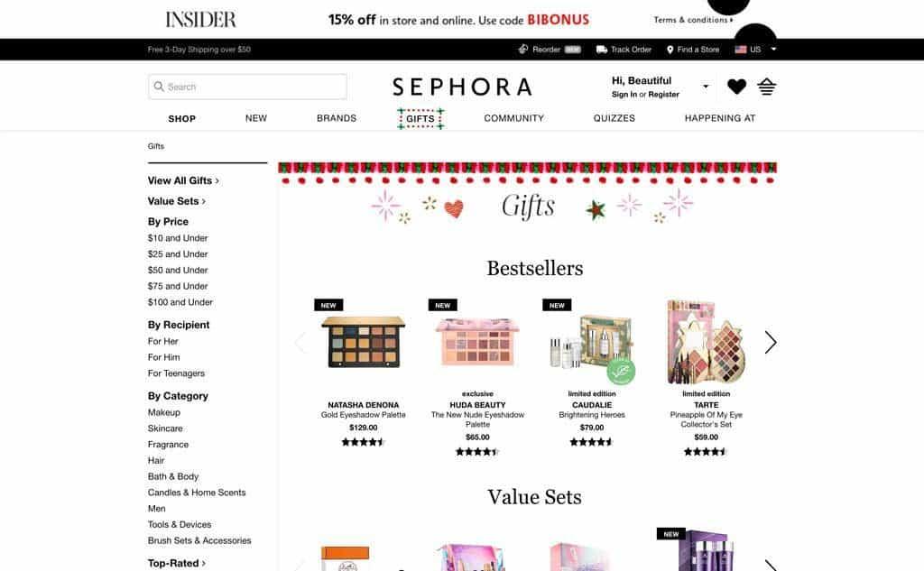 Sephora Gift Ideas Website Page