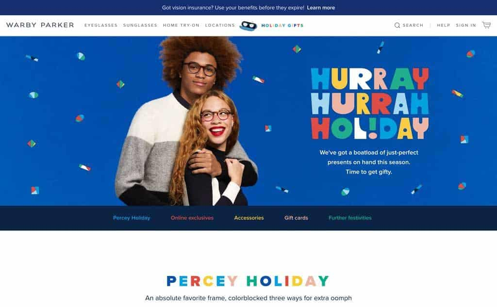 Warby Parker Holiday Gifts Website Page