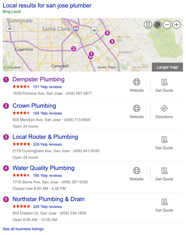 Bing Search Results - Local Plumbers