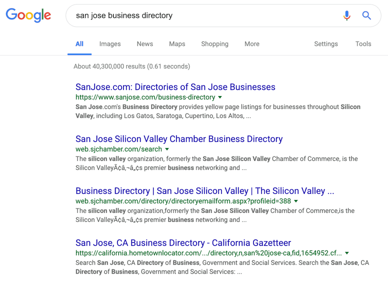 San Jose Business Directory Google Search