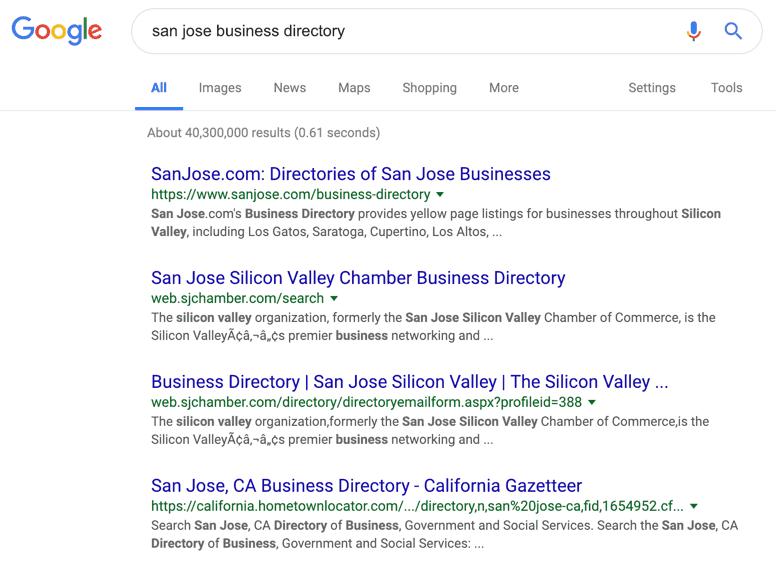San Jose Business Directory Google Search
