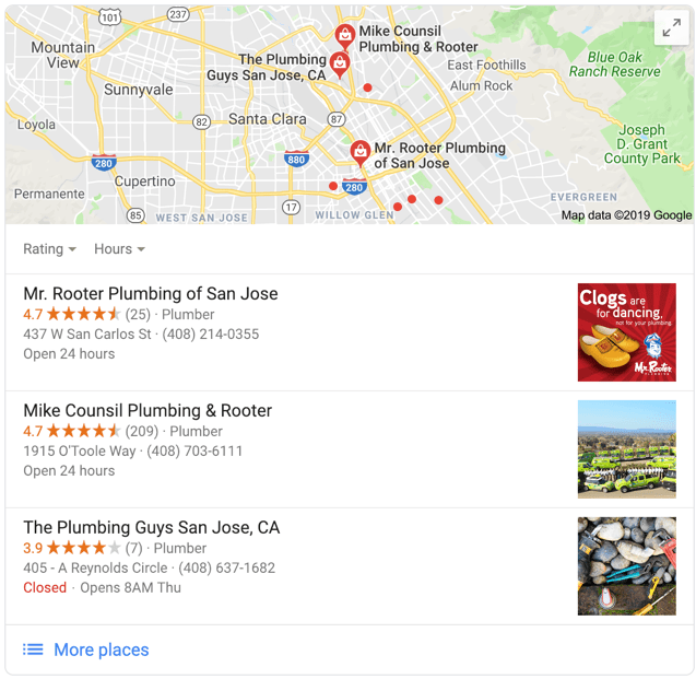 San Jose Plumber - Google Local Search 3-Pack