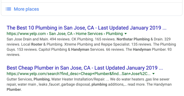 San Jose Plumber - Google Search Organic Results