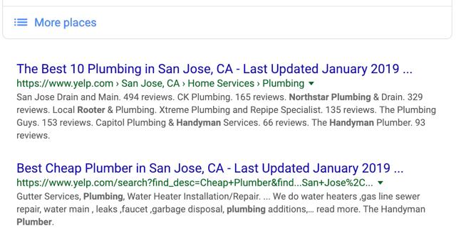 San Jose Plumber - Google Search Organic Results