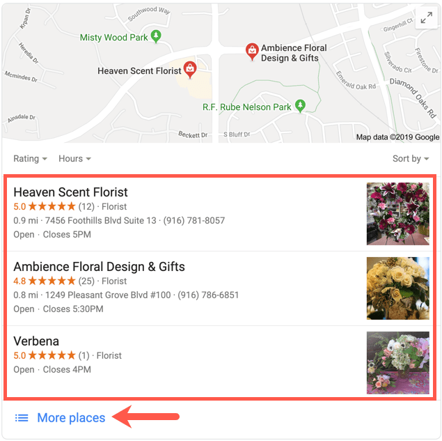 Google My Business 3-pack Florists Search