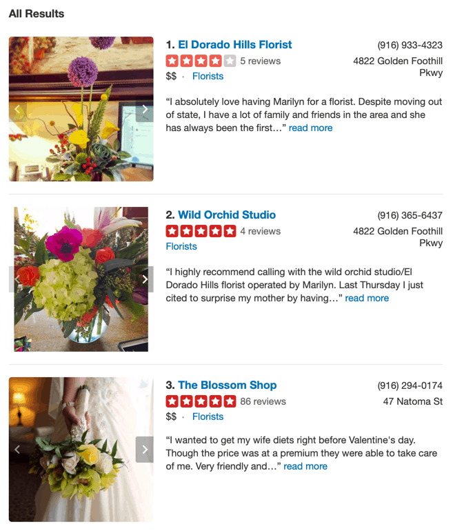 Yelp Search Results for Florist