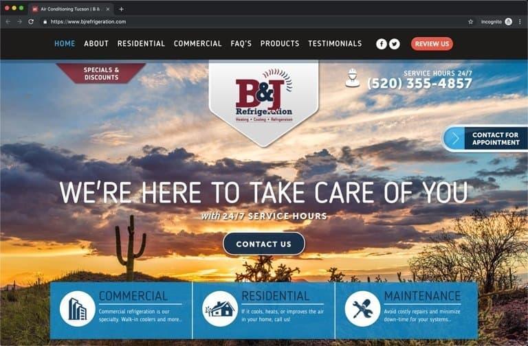 B & J Tucson HVAC Website