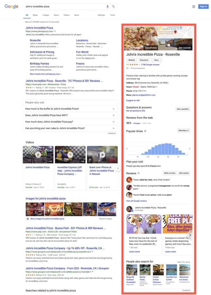 Google brand search with business knowledge panel information.