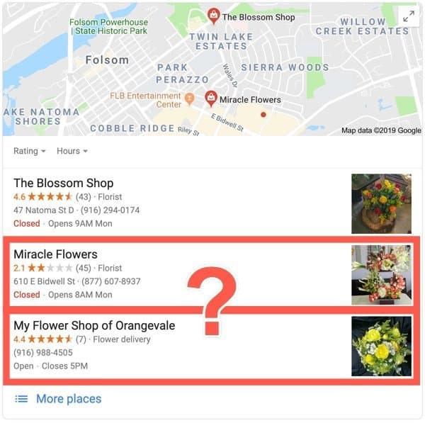 Google business search for a florist with different review quantities and qualities.