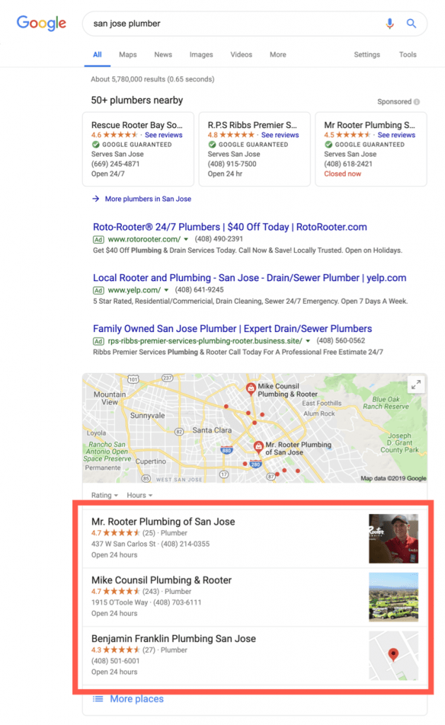 Google Search For Plumbers in San Jose With 3-Pack Highlighted