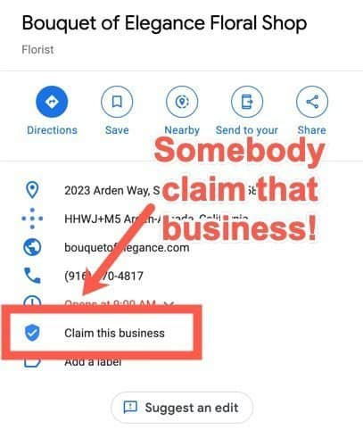 Google My Business (GMB) unclaimed business listing.