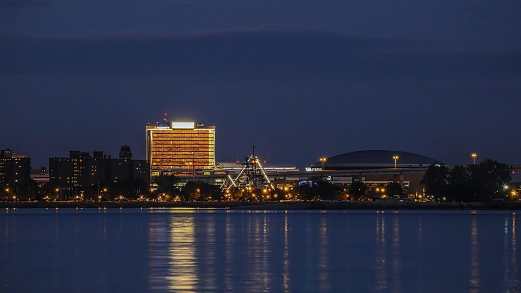 Buffalo, New York Lake and City Skyline at Night