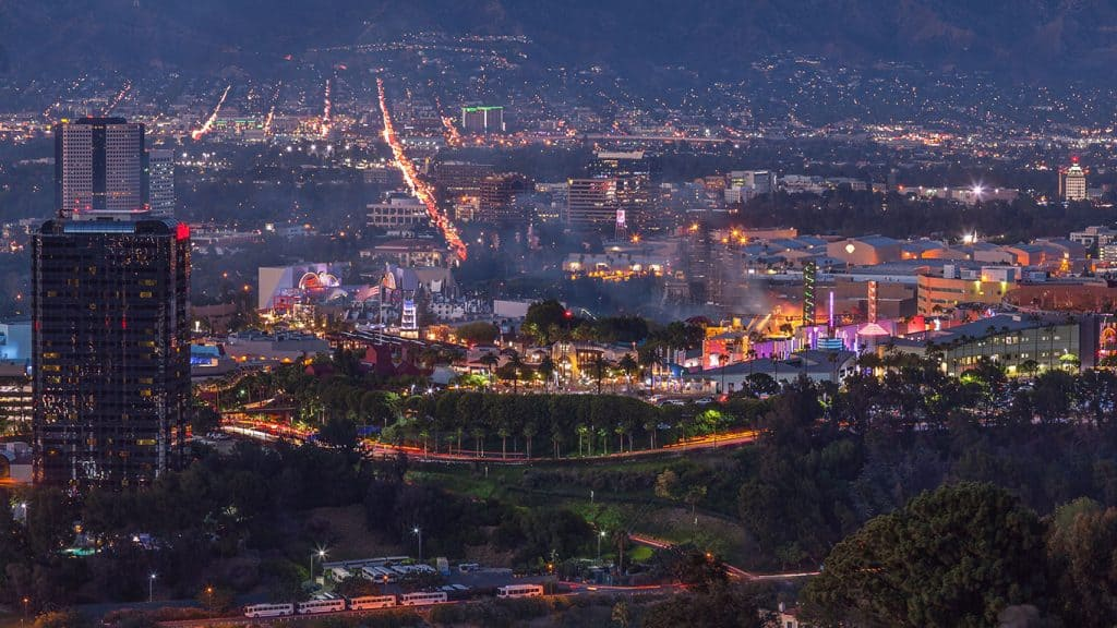 Burbank & Universal City California Nigh City View