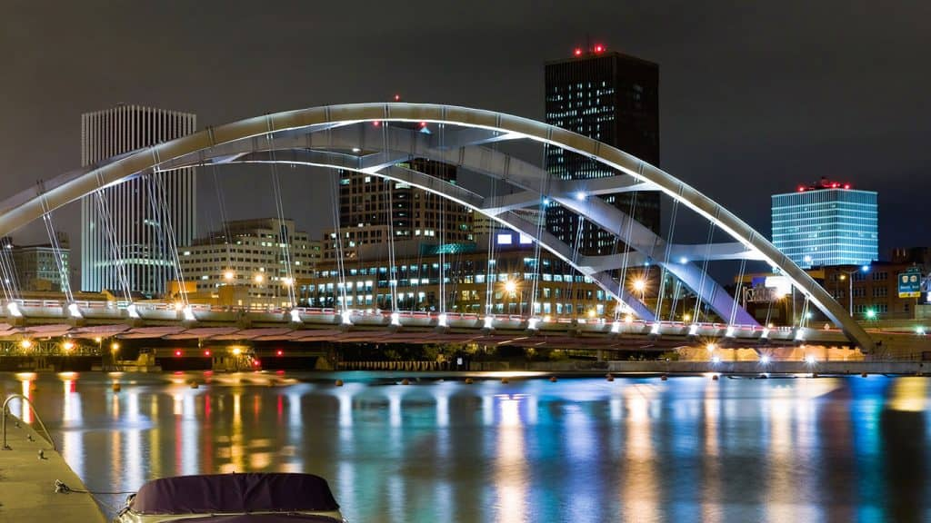 Rochester, NY 490 bridge and Genesee River Downtown