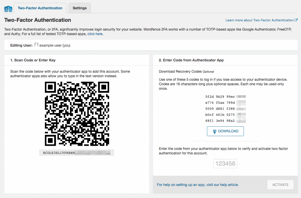 Wordfence Two-Factor Authentication Setup Screen