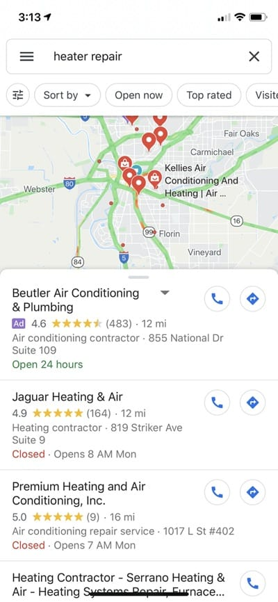 Google Maps search for heater repair.