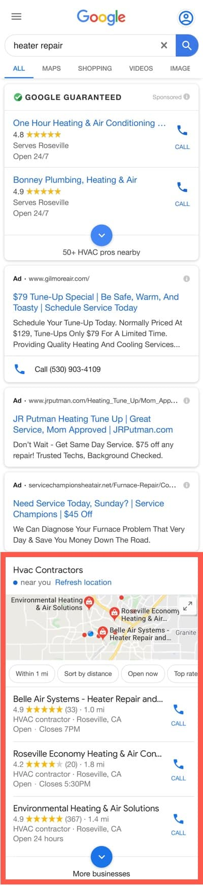 Google mobile search for heater repair.
