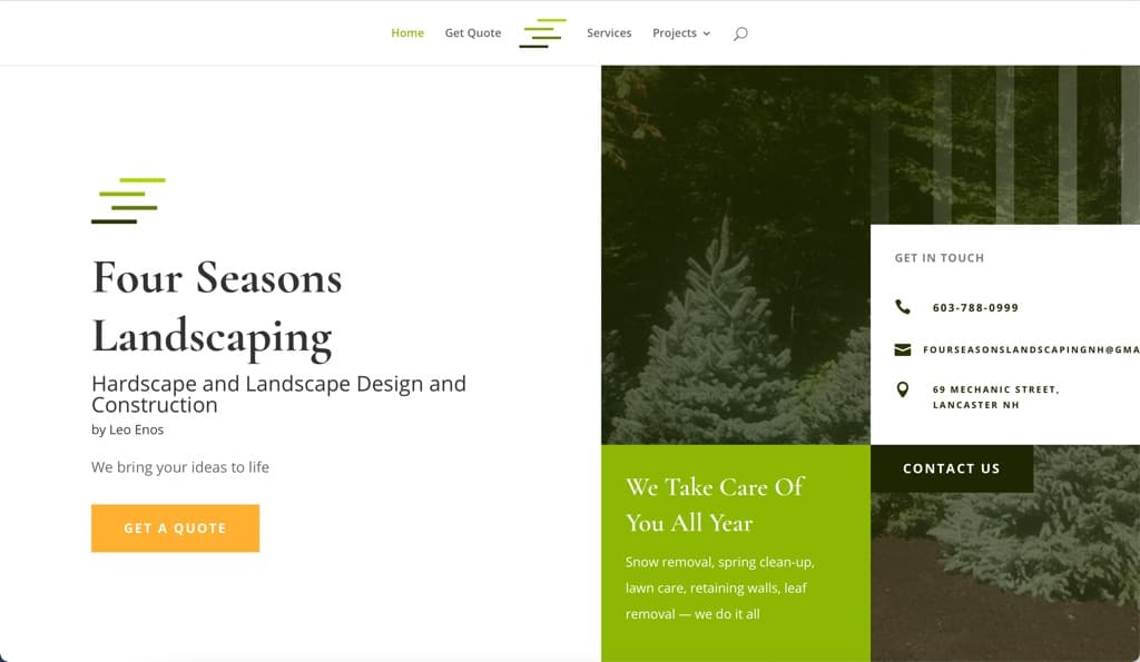 Four Seasons Landscaping Website, Lancaster, NH