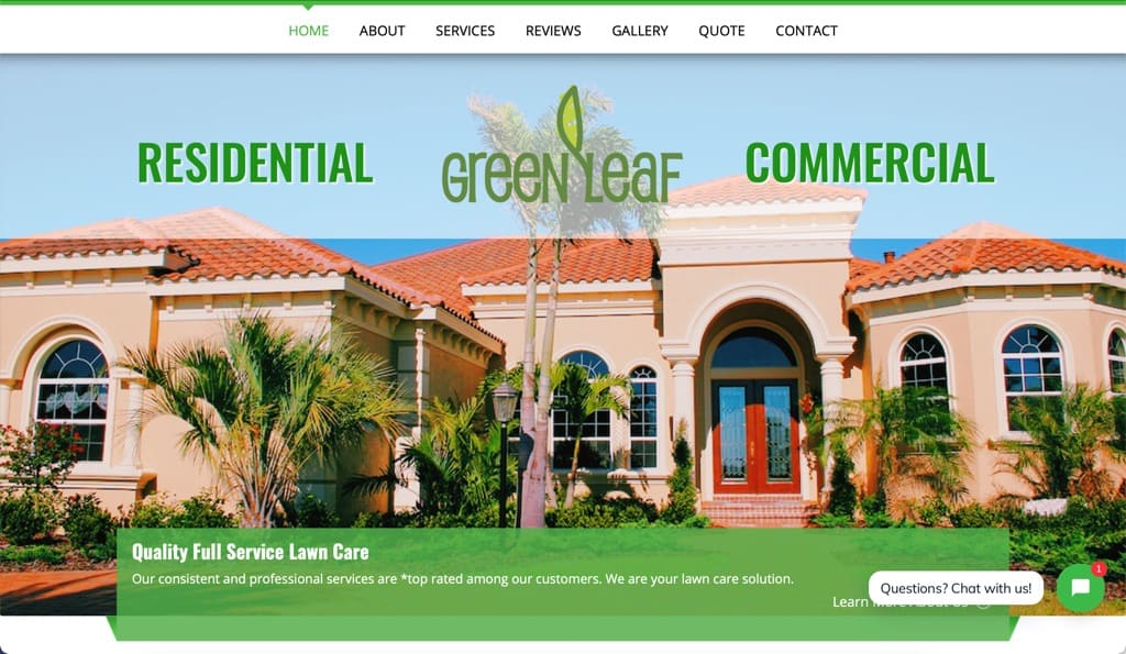 Green Leaf Lawn Care Solutions Website - Fort Myers, FL