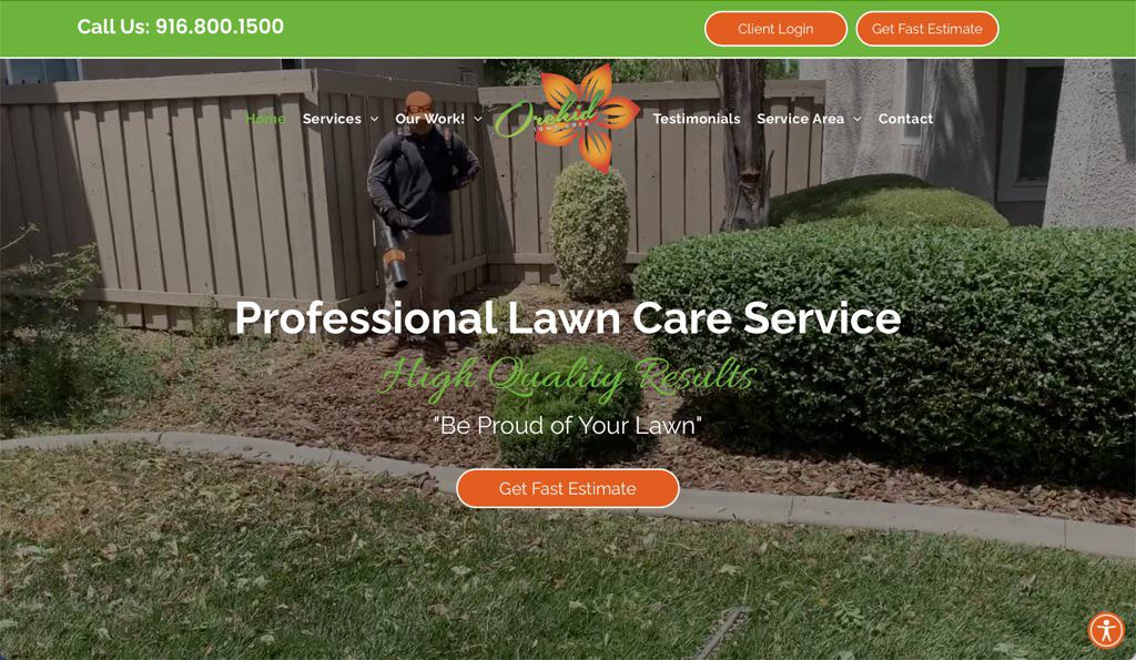 Orchid Lawn Care Service Website - Sacramento, CA